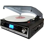 Boytone™ BT-16DJB-C 3-Speed Record/Cassette Turntable System; Black/Silver