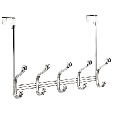 InterDesign York Lyra Over-the-Door 5-Hook Rack for Coats, Hats, Robes and Towels, Chrome (53470)