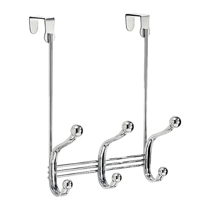 InterDesign York Lyra Over-the-Door 3-Hook Organizer Hooks for Coats, Hats, Robes and Towels, Chrome (53070)