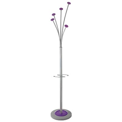 Alba Floor Coat Stand with 5 Hooks, Metal and Purple ABS (PMFESTY2P)