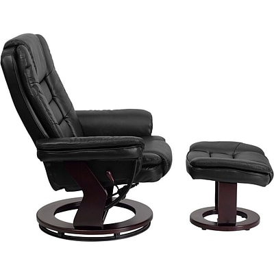 Flash Furniture Contemporary 40 1/2H Leather Recliner and Ottoman, Black