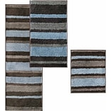 InterDesign® Stripz 34 x 21 Microfiber Polyester Bath Rug, Mocha/Gray