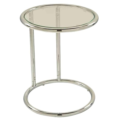 OfficeStar Avenue Six® 21H x 17W x 17D Glass Top/Steel Base Yield Circle Table, Black Top/Chrome Base