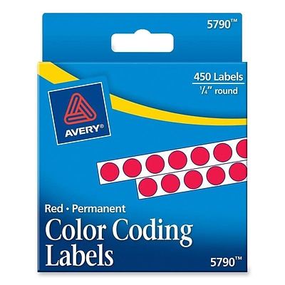 Avery® 5790 Round 1/4 Diameter Color Coding Labels, Red, 450/Pack