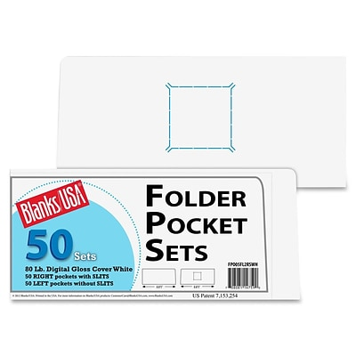 Blanks/USA® 8 7/8 x 4 80 lbs. Gloss Cover Right Folder With Two Pocket, White, 50/Pack