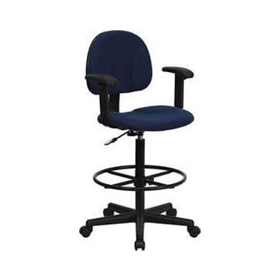 Surprising Flash Furniture Ergonomic Fabric Drafting Stool Adjustable Arms Navy Blue Creativecarmelina Interior Chair Design Creativecarmelinacom
