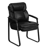 Flash Furniture Leather Mid Back Executive Side Chair With Sled Base; Black