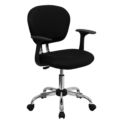 Flash Furniture Mid Back Mesh Task Chair With Arms and Chrome Base, Black