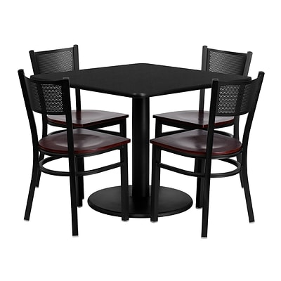 Flash Furniture 36 Square Black Laminate Table Set W/4 Grid Back Mahogany Wood Seat Chairs