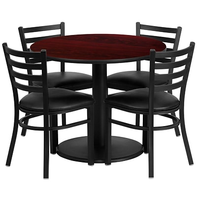 Flash Furniture 36 Round Mahogany Laminate Table Set W/4 Ladder Back Vinyl Seat Chairs