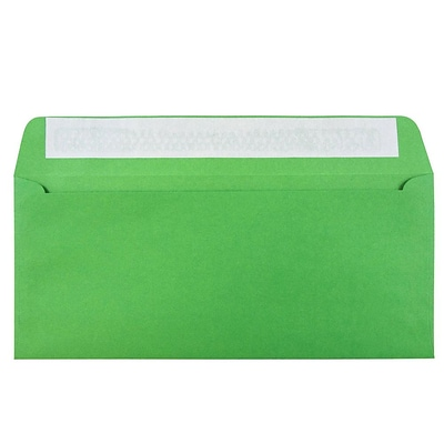 JAM Paper® #10 Business Envelopes, Peel and Seal Closure, 4 1/8 x 9 1/2, Brite Hue Christmas Green Recycled, 50/pack (86555I)