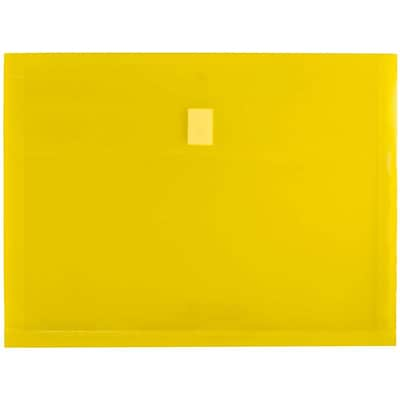 JAM Paper® Plastic Envelopes with Hook & Loop Closure, 1 Expansion, Letter Booklet, 9.75 x 13, Yellow Poly, 12/pack (218V1YE)