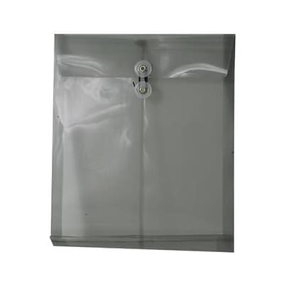 JAM Paper® Plastic Envelopes, Button and String Tie Closure, Letter Open End, 9.75 x 11.75, Smoke Grey Poly, 12/pack (118B1SM)