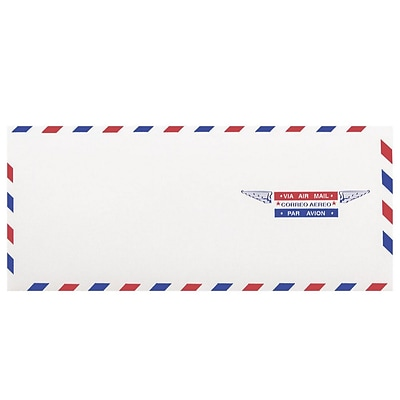 JAM Paper® #10 Airmail Envelopes, 4.125 x 9.5, White, 100/Pack (A35532C)