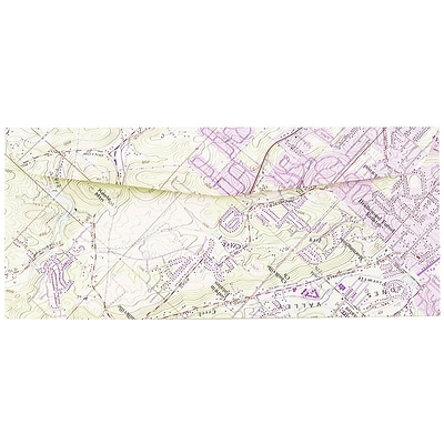 JAM Paper® #10 Business Envelopes, 4 1/8 x 9 1/2, Made from Real Surplus Maps, 25/pack (163729)
