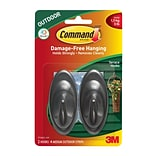 Command™ Outdoor Medium Slate Terrace Hooks, 2/Pack