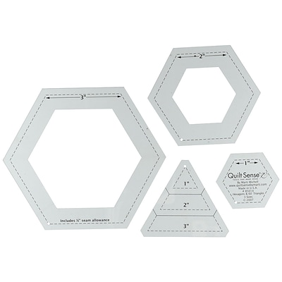 Quilt Sense Hexagons & 60 Degree Triangles, 3 Sizes