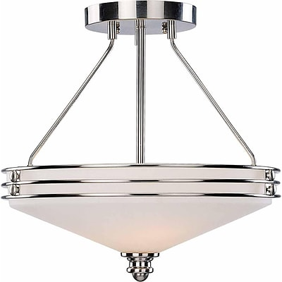 Aurora Lighting Compact Fluorescent Semi-Flush, Brushed Nickel (STL-VME363539)