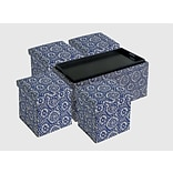 Aurora Lighting Correll Fabric Bench and Storage Ottoman Set Blue 1 STP-TLC3109284