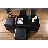 Aurora Lighting Correll Faux Leather Bench and Storage Ottoman Set Black 1 STP-TLC3109291
