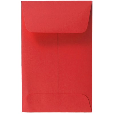 JAM Paper® #1 Coin Envelopes, 2.25 x 3.5, Red Brite Hue Recycled, 50/Pack (356730632I)