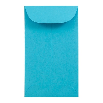 JAM Paper® #3 Coin Envelopes, 2.5 x 4.25, Brite Hue Blue Recycled, 1000/carton (356730539C)