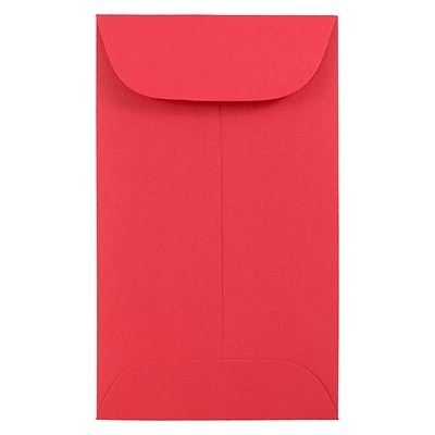 JAM Paper® #3 Coin Envelopes, 2.5 x 4.25, Brite Hue Red Recycled, 100/pack (356730541B)