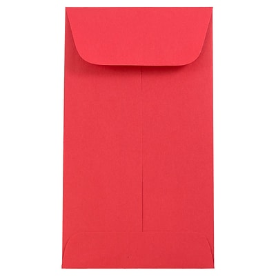 JAM Paper® #5.5 Coin Envelopes, 3 1/8 x 5 1/2, Brite Hue Red Recycled, 25/pack (356730551)