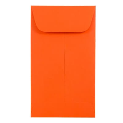 JAM Paper® #5.5 Coin Envelopes, 3 1/8 x 5 1/2, Brite Hue Orange Recycled, 1000/carton (356730548C)