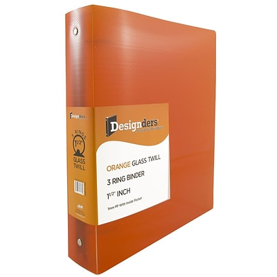 JAM Paper® Plastic 1.5 Inch Binder, Orange 3 Ring Binder, Sold Individually (762T15OR)