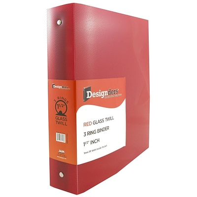 JAM Paper® Plastic 3 Ring Binder, 1.5 Inch, Red, Sold Individually (762T15RD)