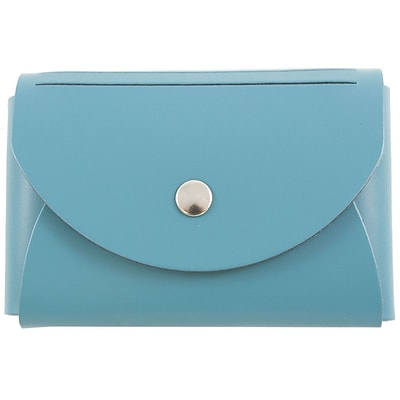 JAM Paper® Leather Business Card Case, Round Flap, Teal Blue , Sold Individually (2333299089)