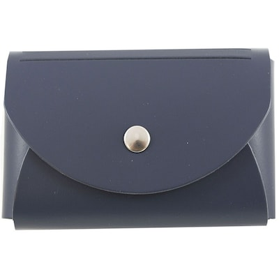 JAM Paper® Leather Business Card Case, Round Flap, Navy Blue, Sold Individually (233329917)