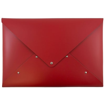 JAM Paper® Italian Leather Portfolio with Snap Closure, Legal Size, 10 1/4 x 14 3/4, Red, Sold Individually (233329923)