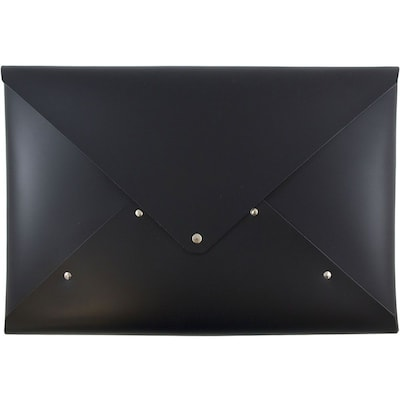 JAM Paper® Italian Leather Portfolio with Snap Closure, Legal Size, 10 1/4 x 14 3/4 x 3/4, Black, Sold Individually (233329926)
