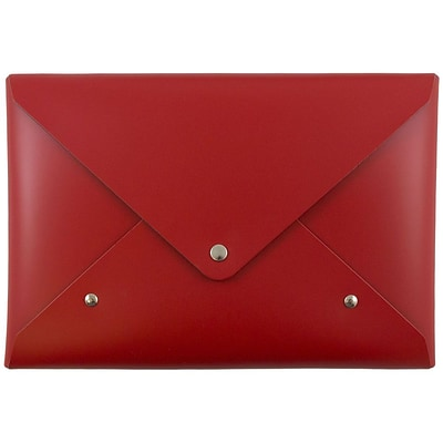 JAM Paper® Italian Leather Clutch Portfolio with Snap Closure, Medium, 6 1/8 x 9, Red, Sold Individually (233329925)