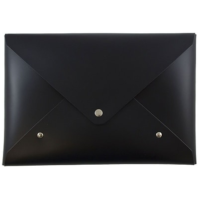 JAM Paper® Italian Leather Clutch Portfolio with Snap Closure, Medium, 6 1/8 x 9, Black, Sold Individually (233329924)