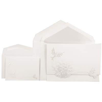 JAM Paper® Quinceanera Invitation Combo Set, 1 Sm 1 Lg, White with Pearl Doves Design, Crystal Lined, 150/pack (526975CRC)