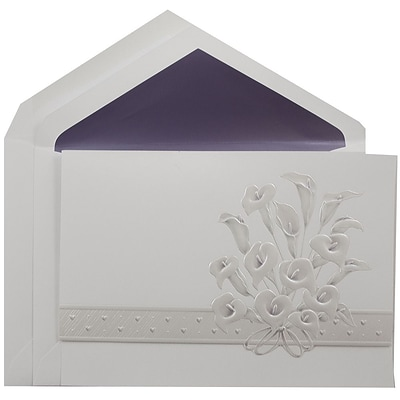 JAM Paper® Quinceanera Invitation Set, Large, 5.5 x 7.75, White with Calla Lily Design Purple Lined, 50/pack (5268784PU)
