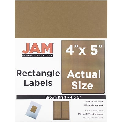 JAM Paper® Mailing Address Labels, 4 x 5, Brown Kraft, 120/pack (337329606)
