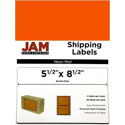 JAM Paper® Shipping Labels, Half Sheet, 5.5 x 8.5, Neon Red, 50/pack (359429625)
