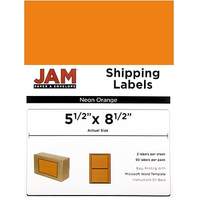 JAM Paper® Shipping Labels, Half Sheet, 5.5 x 8.5, Neon Orange, 50/pack (359429628)