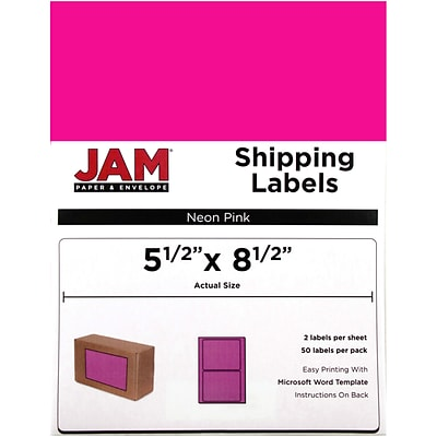 JAM Paper® Shipping Labels, Half Sheet, 5.5 x 8.5, Neon Pink, 50/pack (359429629)