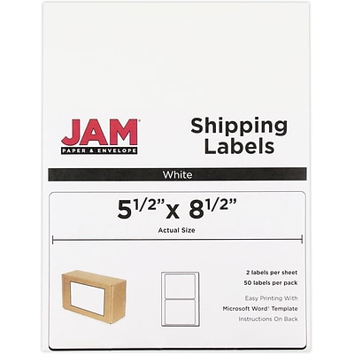 jam paper shipping labels half sheet 5 5 x 8 5 white 50 pack