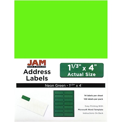 JAM Paper® Mailing Address Labels, 1 1/3 x 4, Neon Green, 126/pack (359329613)