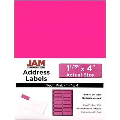JAM Paper® Mailing Address Labels, 1 1/3 x 4, Neon Pink, 126/pack (359329612)