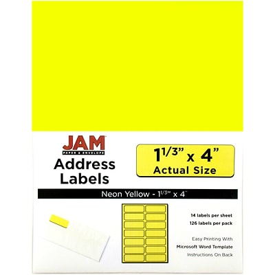 JAM Paper® Mailing Address Labels, 1 1/3 x 4, Neon Yellow, 126/pack (359329614)