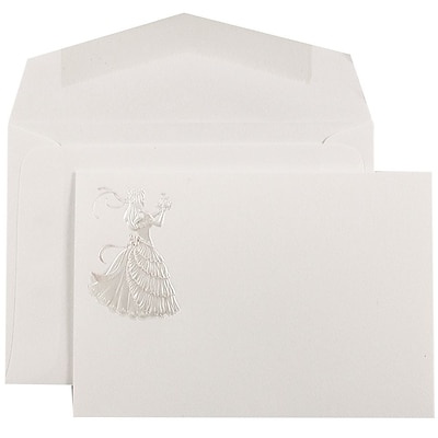 JAM Paper® Quinceanera Invitation Set, Small, 4 7/8 x 3 3/8, White, Pink Princess Design, White Envelopes, 100/pack (52695150)