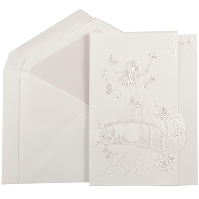 JAM Paper® Quinceanera Invitation Set, Large, 5.5x7.75, White, Pink Butterfly Princess, Petal Pink Lined Env, 50/pk (5268615MPP)