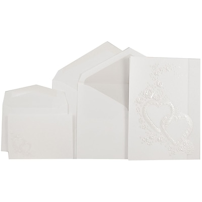 JAM Paper® Quinceanera Invitation Combo Set, 1 Sm 1 Lg, White with Pearl Hearts Design, Crystal Lined, 150/pack (5269899CRC)